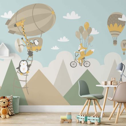 Children's room wallpaper Flying foxes